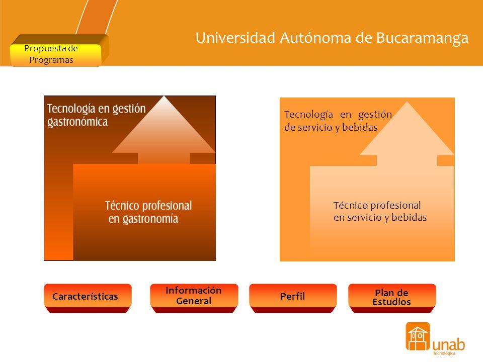 Universidad Autónoma de Bucaramanga Propuesta de Programas Características Información General Perfil Plan de Estudios Tecnología en gestión de servic