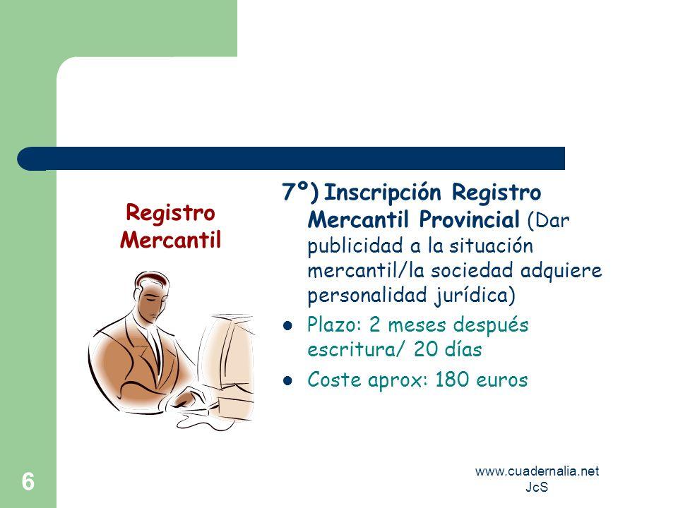 www.cuadernalia.net JcS 6 7º) Inscripción Registro Mercantil Provincial (Dar publicidad a la situación mercantil/la sociedad adquiere personalidad jur