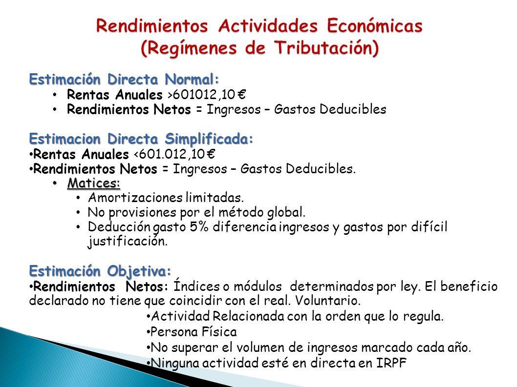 Estimación Directa Normal: Rentas Anuales >601012,10 Rendimientos Netos = Ingresos – Gastos Deducibles Estimacion Directa Simplificada: Rentas Anuales