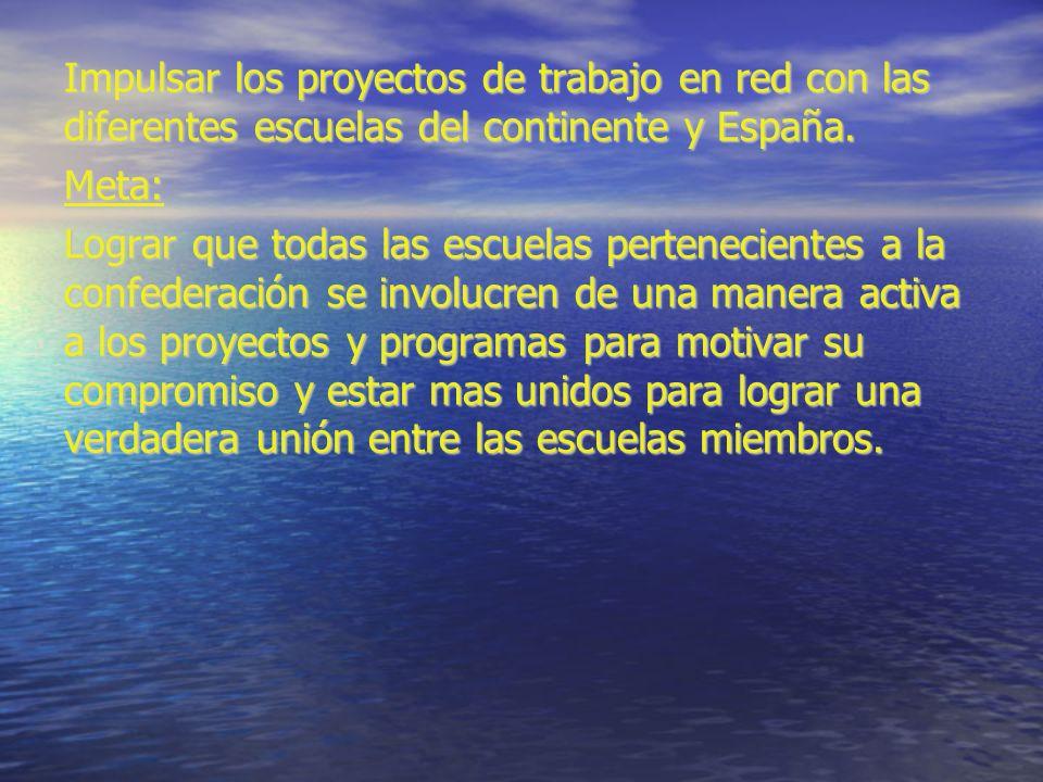 Impulsar los proyectos de trabajo en red con las diferentes escuelas del continente y España.