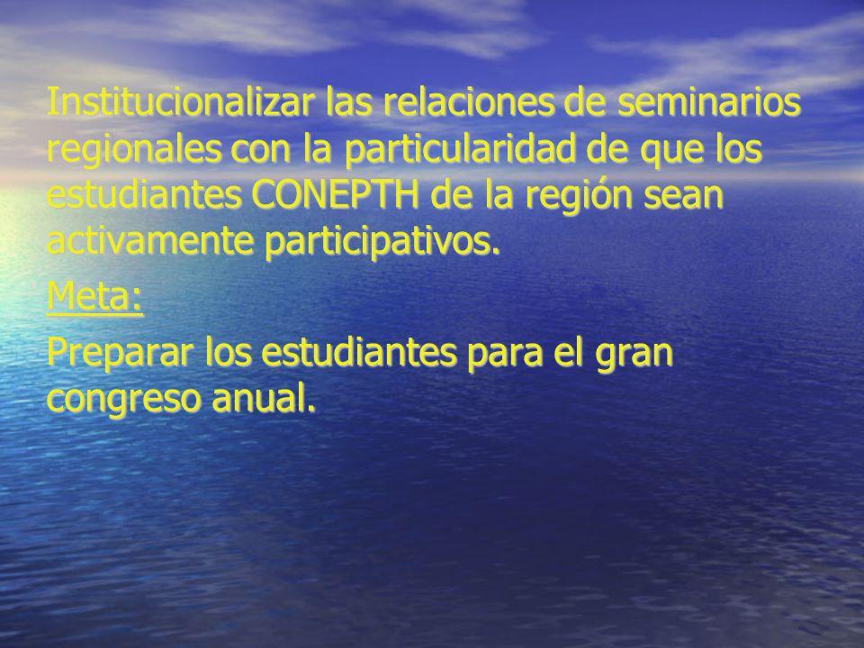 Institucionalizar las relaciones de seminarios regionales con la particularidad de que los estudiantes CONEPTH de la región sean activamente participativos.