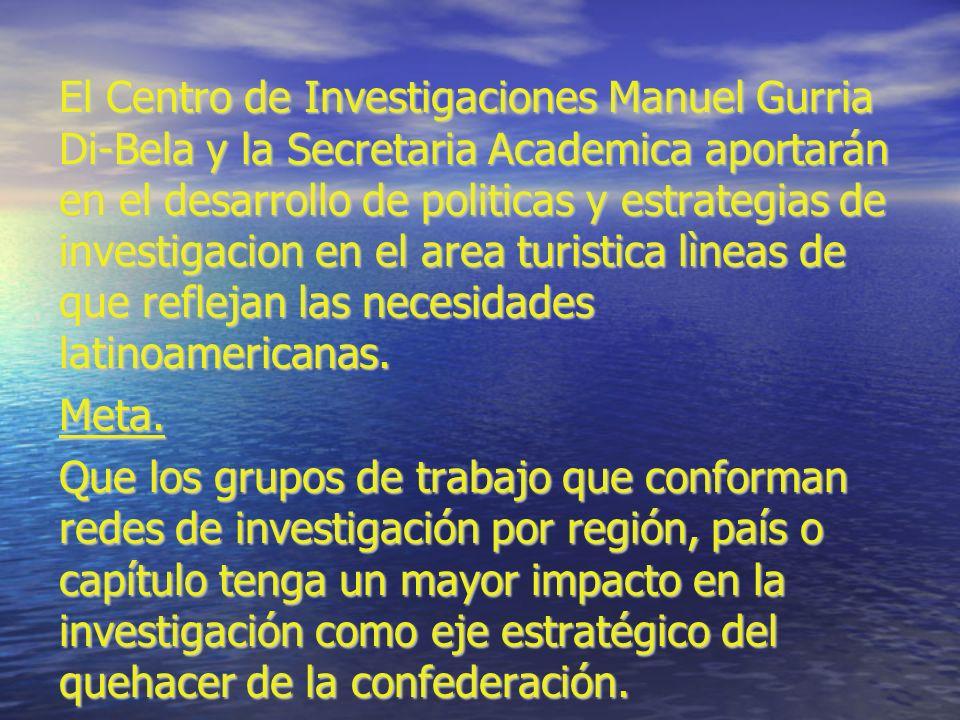 El Centro de Investigaciones Manuel Gurria Di-Bela y la Secretaria Academica aportarán en el desarrollo de politicas y estrategias de investigacion en el area turistica lìneas de que reflejan las necesidades latinoamericanas.