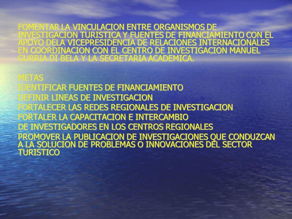FOMENTAR LA VINCULACION ENTRE ORGANISMOS DE INVESTIGACION TURISTICA Y FUENTES DE FINANCIAMIENTO CON EL APOYO DELA VICEPRESIDENCIA DE RELACIONES INTERNACIONALES EN COORDINACION CON EL CENTRO DE INVESTIGACION MANUEL GURRIA DI BELA Y LA SECRETARIA ACADEMICA.