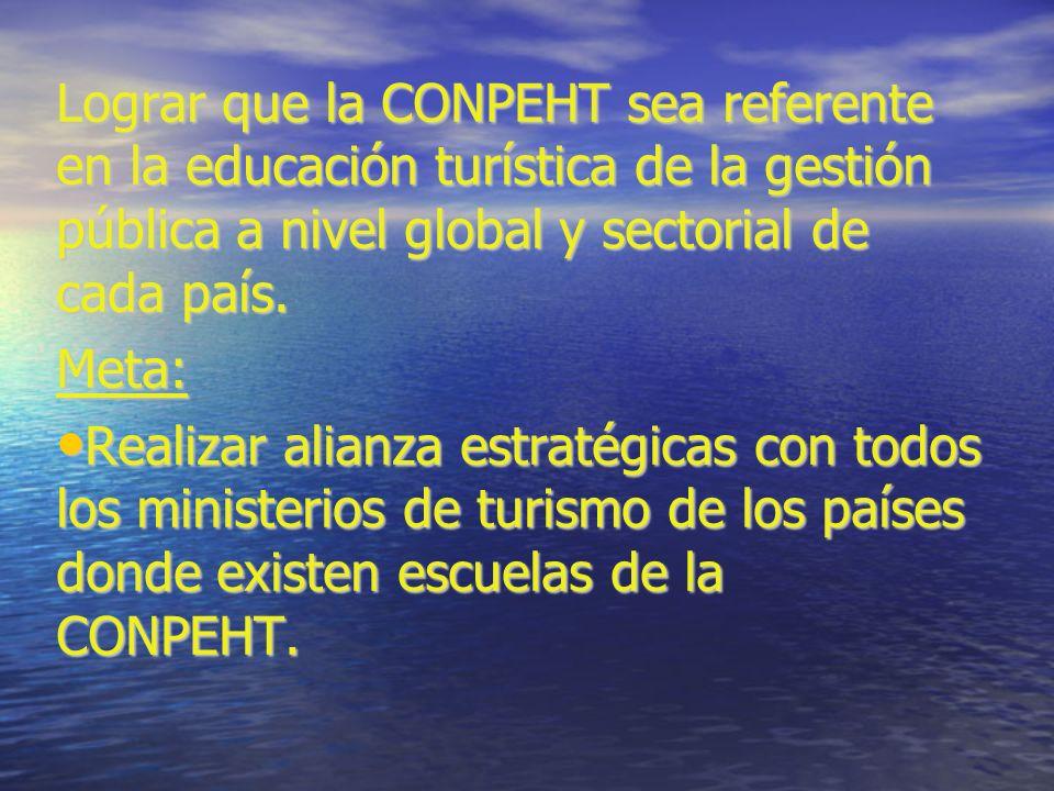 Lograr que la CONPEHT sea referente en la educación turística de la gestión pública a nivel global y sectorial de cada país.