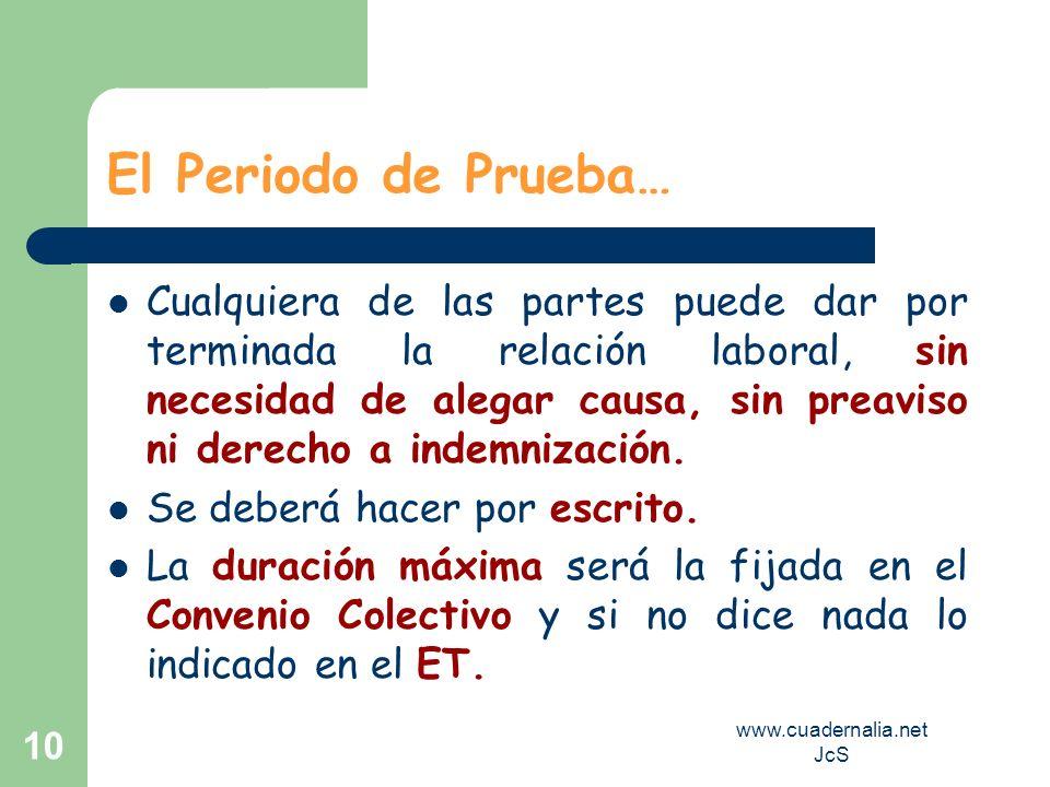 www.cuadernalia.net JcS 10 El Periodo de Prueba… Cualquiera de las partes puede dar por terminada la relación laboral, sin necesidad de alegar causa,