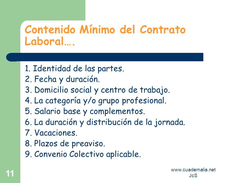 www.cuadernalia.net JcS 11 Contenido Mínimo del Contrato Laboral…. 1. Identidad de las partes. 2. Fecha y duración. 3. Domicilio social y centro de tr
