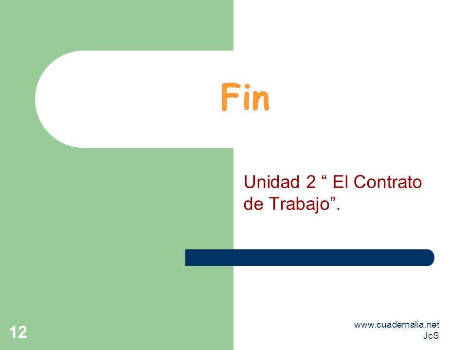 www.cuadernalia.net JcS 12 Fin Unidad 2 El Contrato de Trabajo.