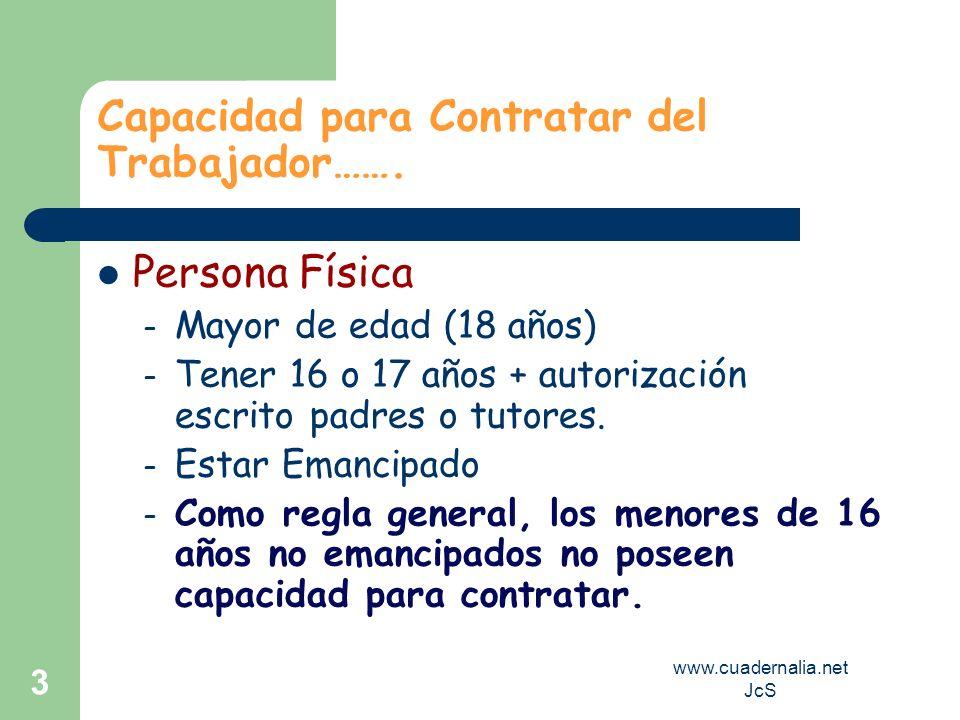 www.cuadernalia.net JcS 3 Capacidad para Contratar del Trabajador……. Persona Física – Mayor de edad (18 años) – Tener 16 o 17 años + autorización escr