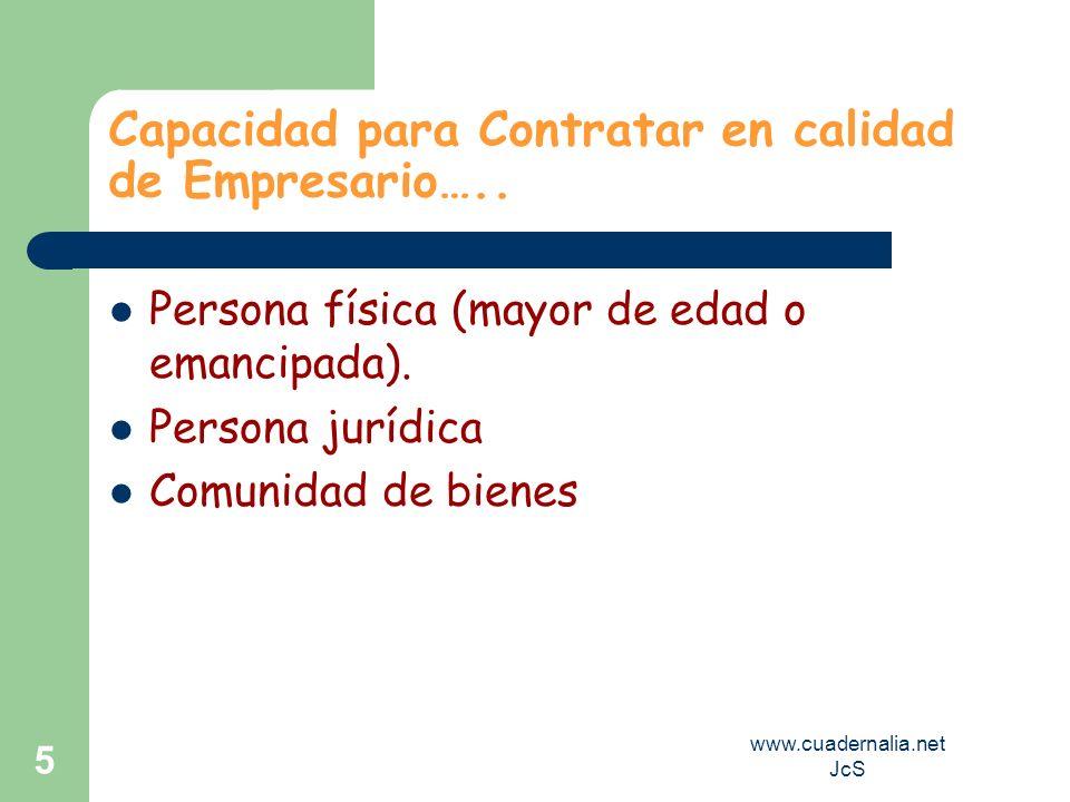 www.cuadernalia.net JcS 5 Capacidad para Contratar en calidad de Empresario….. Persona física (mayor de edad o emancipada). Persona jurídica Comunidad