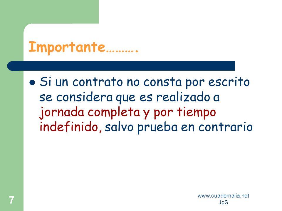 www.cuadernalia.net JcS 7 Importante………. Si un contrato no consta por escrito se considera que es realizado a jornada completa y por tiempo indefinido