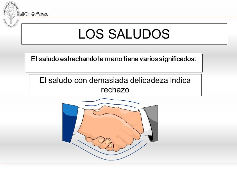 LOS SALUDOS El saludo estrechando la mano tiene varios significados: El saludo con demasiada delicadeza indica rechazo