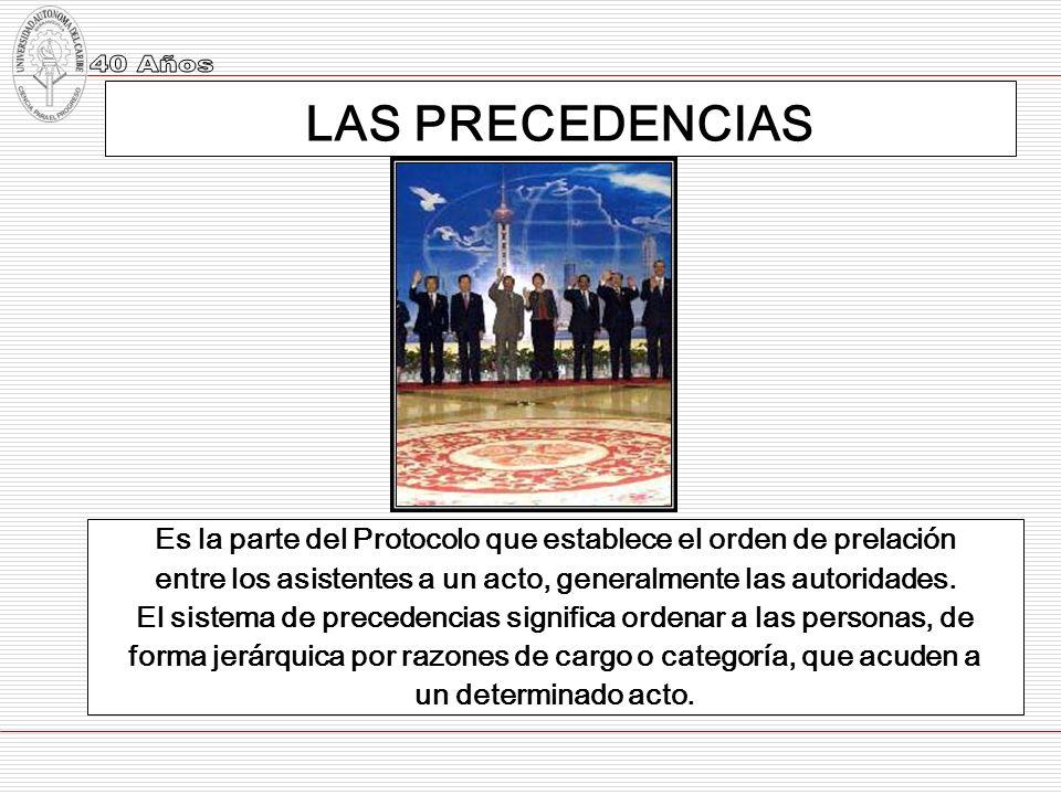 LAS PRECEDENCIAS Es la parte del Protocolo que establece el orden de prelación entre los asistentes a un acto, generalmente las autoridades. El sistem