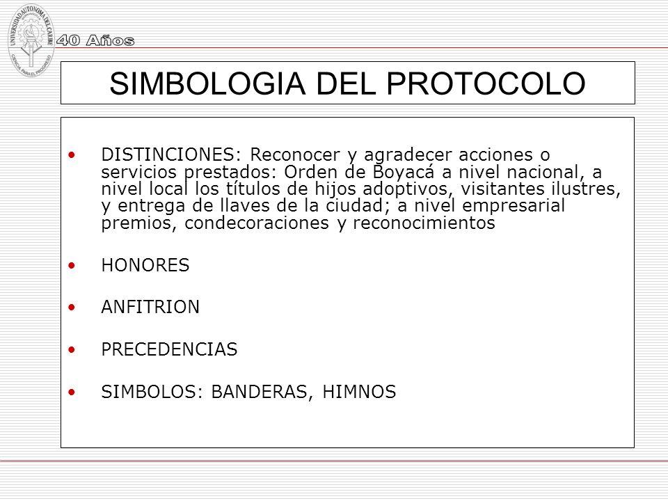 SIMBOLOGIA DEL PROTOCOLO DISTINCIONES: Reconocer y agradecer acciones o servicios prestados: Orden de Boyacá a nivel nacional, a nivel local los títul