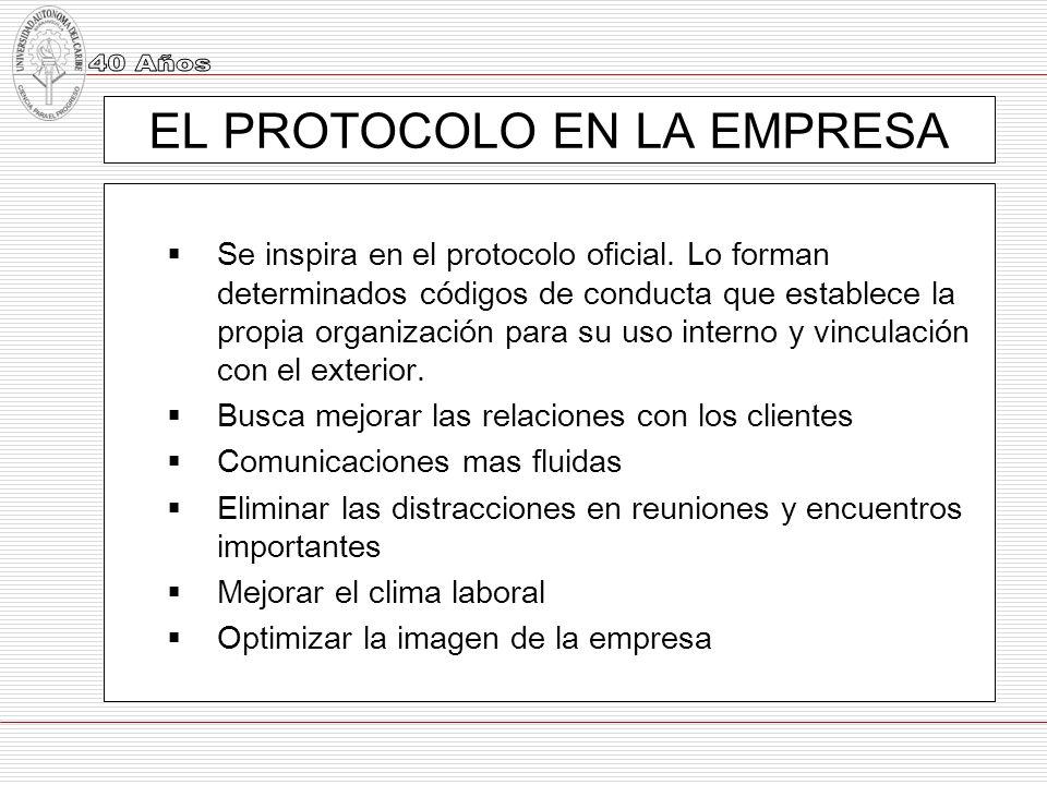 EL PROTOCOLO EN LA EMPRESA Se inspira en el protocolo oficial. Lo forman determinados códigos de conducta que establece la propia organización para su