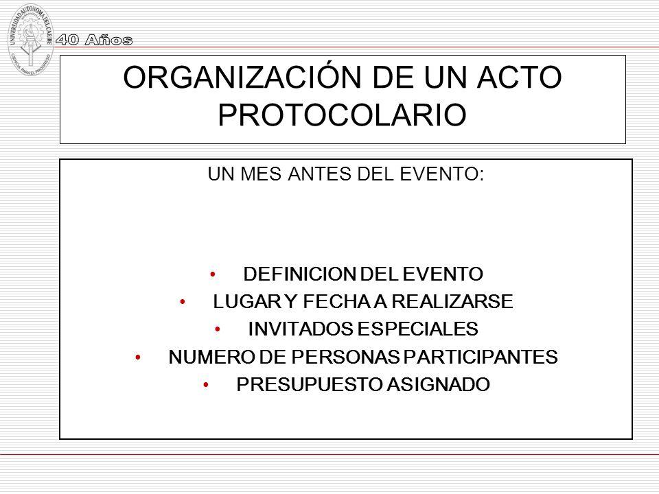 ORGANIZACIÓN DE UN ACTO PROTOCOLARIO UN MES ANTES DEL EVENTO: DEFINICION DEL EVENTO LUGAR Y FECHA A REALIZARSE INVITADOS ESPECIALES NUMERO DE PERSONAS