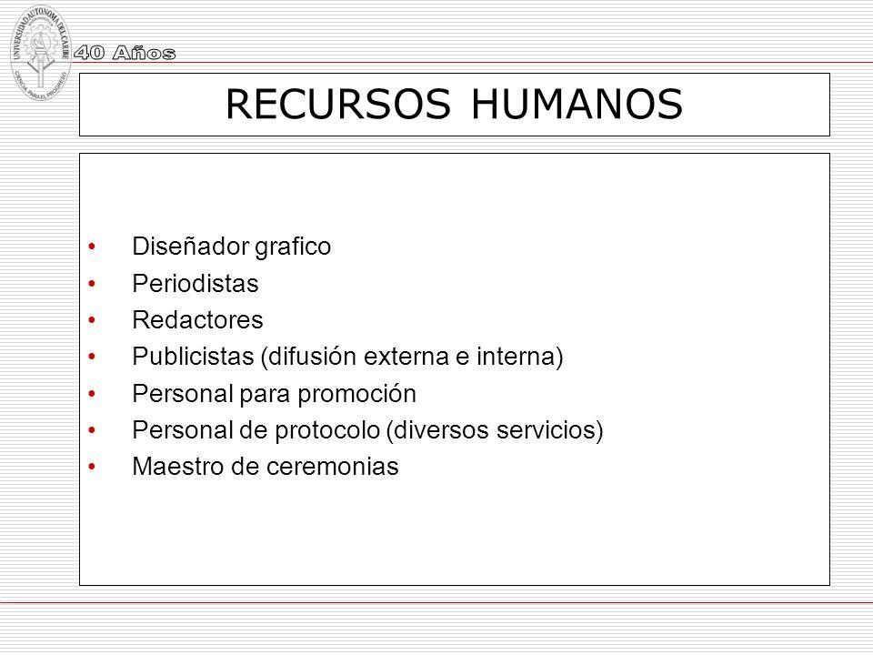 RECURSOS HUMANOS Diseñador grafico Periodistas Redactores Publicistas (difusión externa e interna) Personal para promoción Personal de protocolo (dive