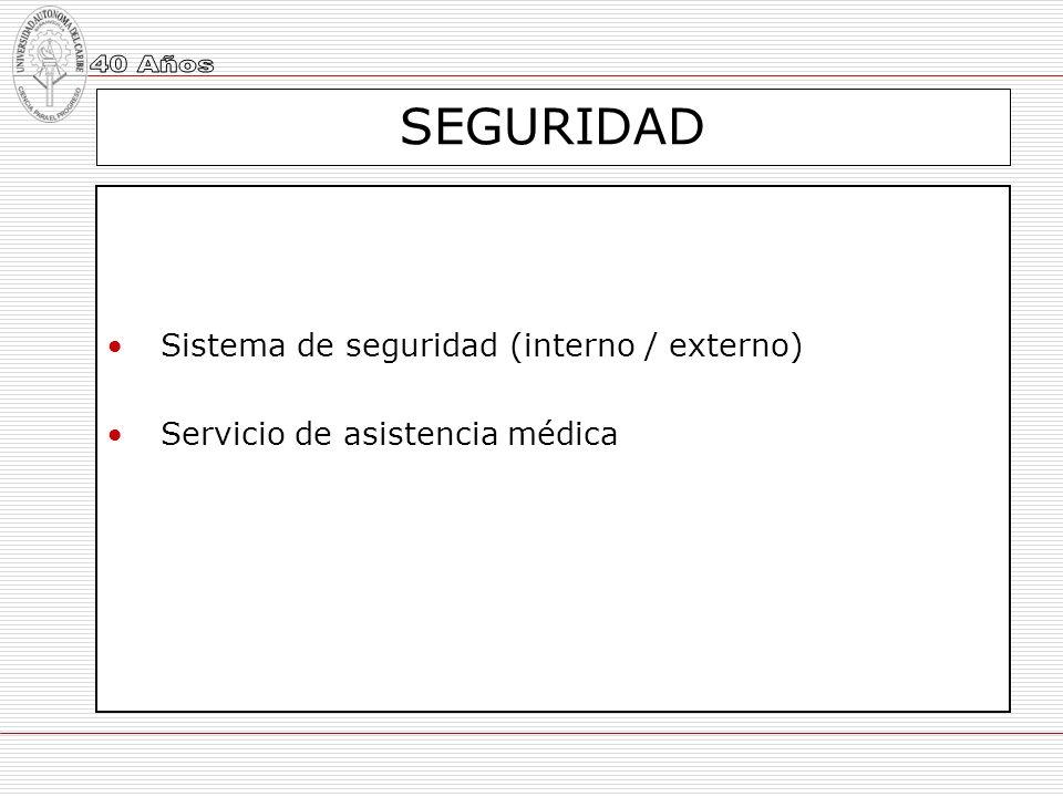 SEGURIDAD Sistema de seguridad (interno / externo) Servicio de asistencia médica