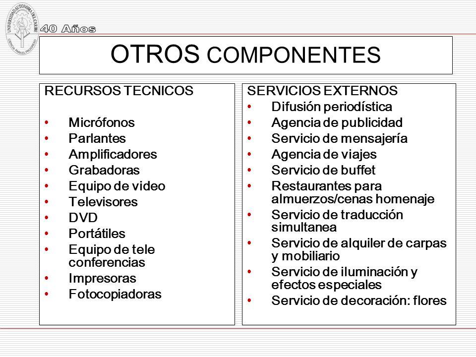 OTROS COMPONENTES RECURSOS TECNICOS Micrófonos Parlantes Amplificadores Grabadoras Equipo de video Televisores DVD Portátiles Equipo de tele conferenc