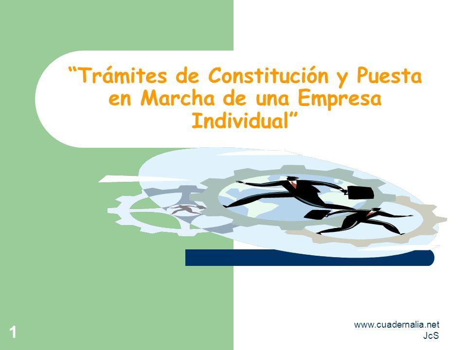 www.cuadernalia.net JcS 1 Trámites de Constitución y Puesta en Marcha de una Empresa Individual