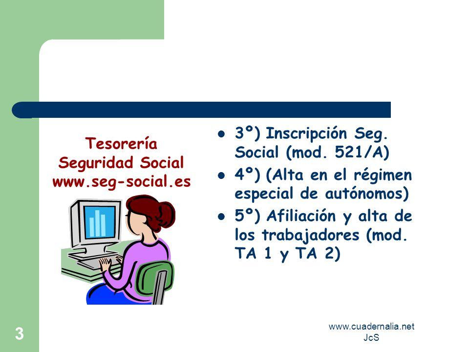 www.cuadernalia.net JcS 3 3º) Inscripción Seg. Social (mod. 521/A) 4º) (Alta en el régimen especial de autónomos) 5º) Afiliación y alta de los trabaja