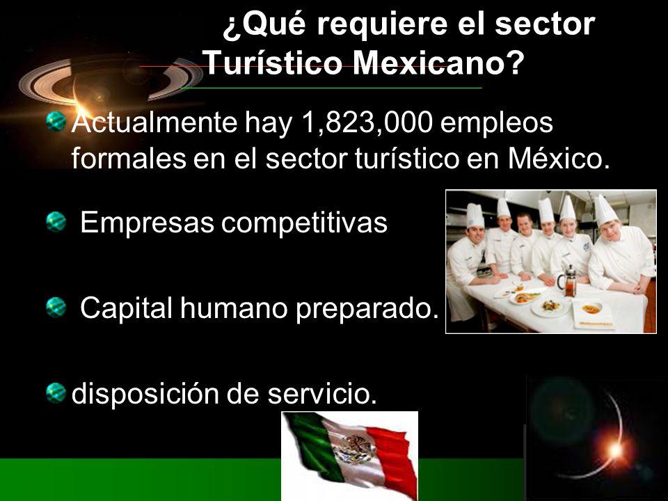 Actualmente hay 1,823,000 empleos formales en el sector turístico en México. Empresas competitivas Capital humano preparado. disposición de servicio.