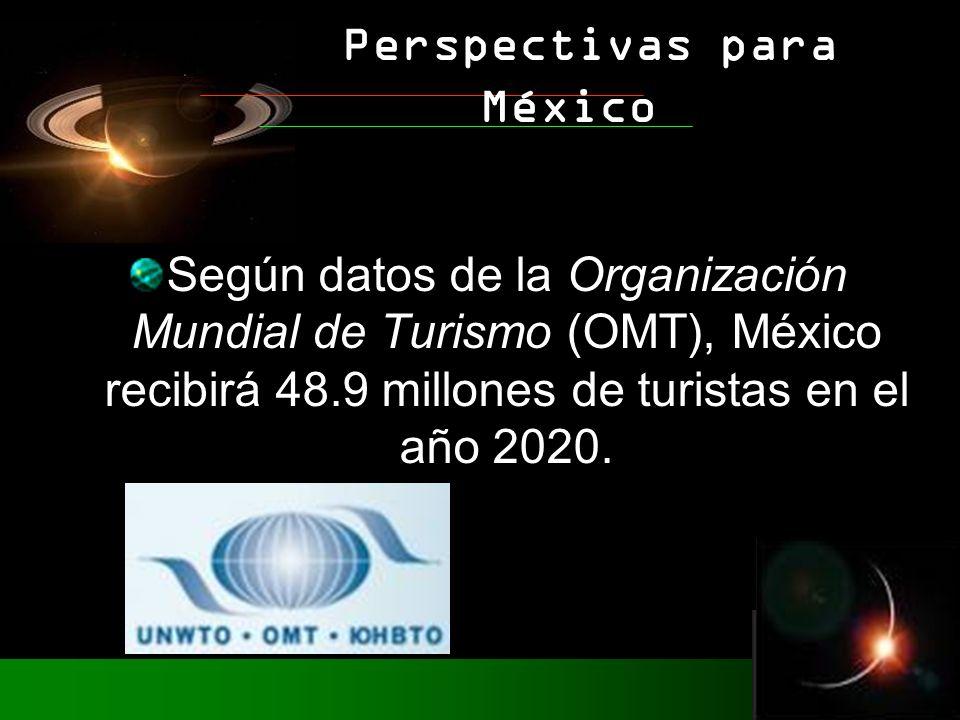 Según datos de la Organización Mundial de Turismo (OMT), México recibirá 48.9 millones de turistas en el año 2020. Perspectivas para México