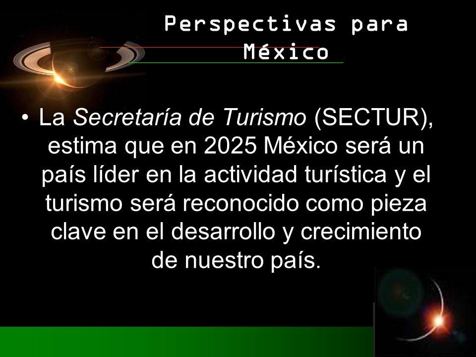 La Secretaría de Turismo (SECTUR), estima que en 2025 México será un país líder en la actividad turística y el turismo será reconocido como pieza clave en el desarrollo y crecimiento de nuestro país.