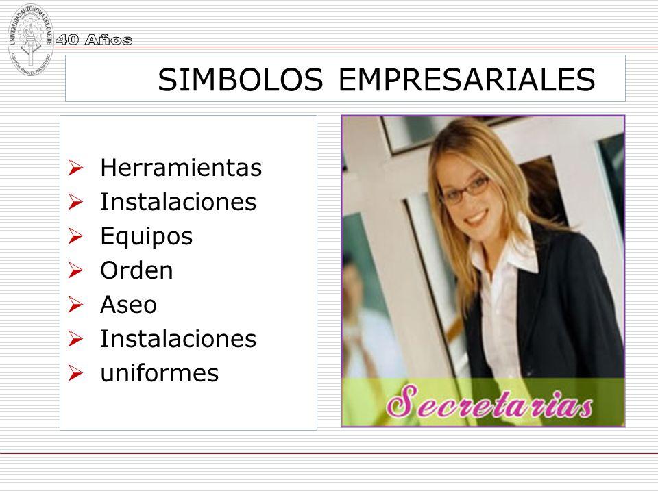 SIMBOLOS EMPRESARIALES Herramientas Instalaciones Equipos Orden Aseo Instalaciones uniformes