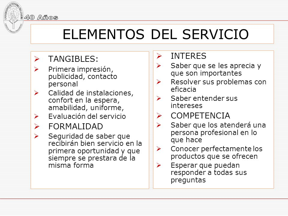 ELEMENTOS DEL SERVICIO TANGIBLES: Primera impresión, publicidad, contacto personal Calidad de instalaciones, confort en la espera, amabilidad, uniform