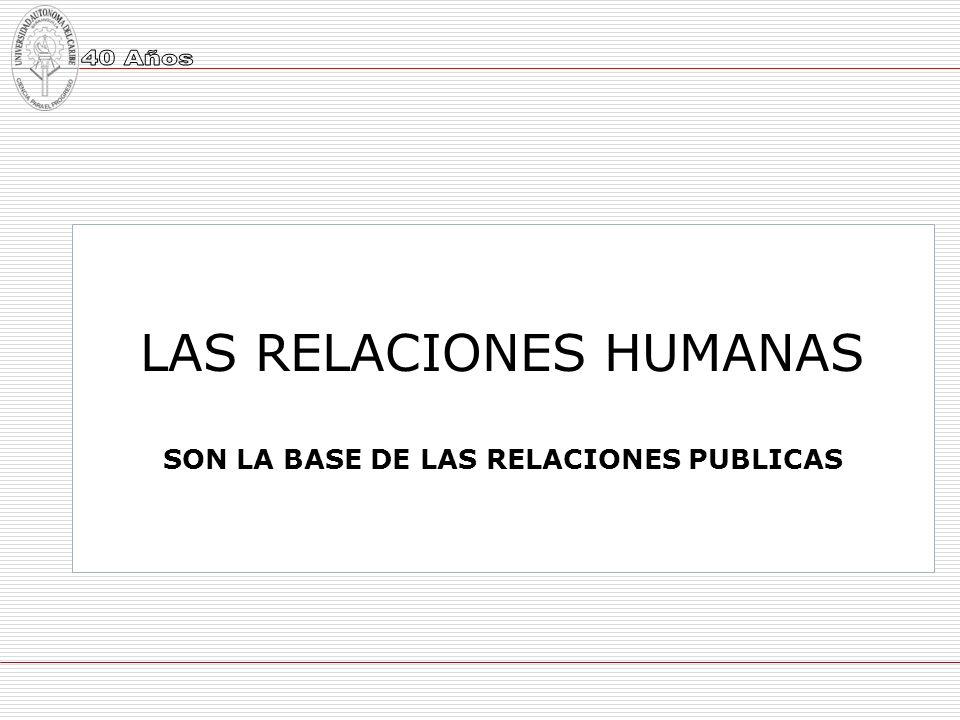 LAS RELACIONES HUMANAS SON LA BASE DE LAS RELACIONES PUBLICAS