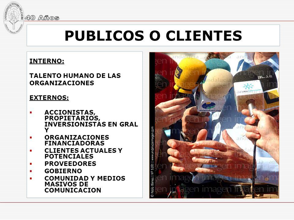 PUBLICOS O CLIENTES INTERNO: TALENTO HUMANO DE LAS ORGANIZACIONES EXTERNOS: ACCIONISTAS, PROPIETARIOS, INVERSIONISTAS EN GRAL Y ORGANIZACIONES FINANCI
