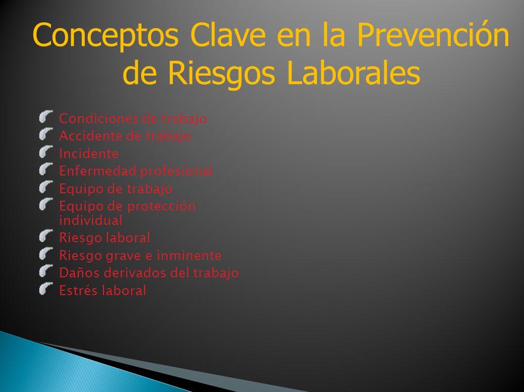 Condiciones de trabajo Accidente de trabajo Incidente Enfermedad profesional Equipo de trabajo Equipo de protección individual Riesgo laboral Riesgo g