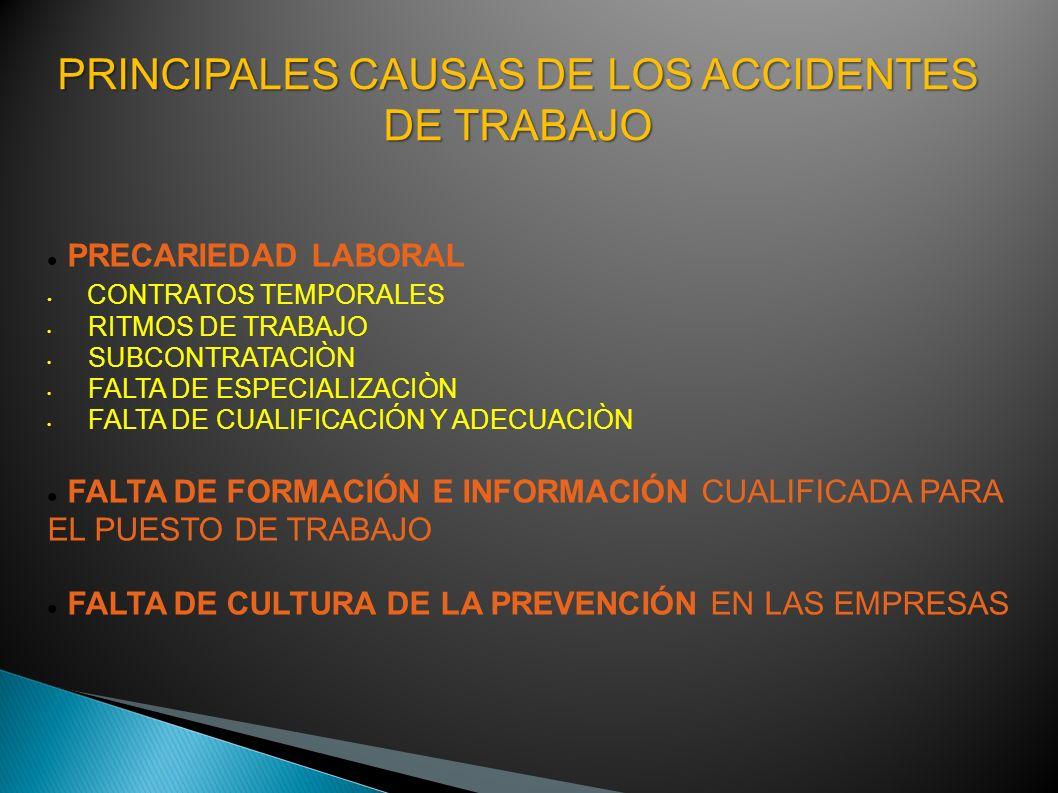 PRINCIPALES CAUSAS DE LOS ACCIDENTES DE TRABAJO PRECARIEDAD LABORAL CONTRATOS TEMPORALES RITMOS DE TRABAJO SUBCONTRATACIÒN FALTA DE ESPECIALIZACIÒN FA