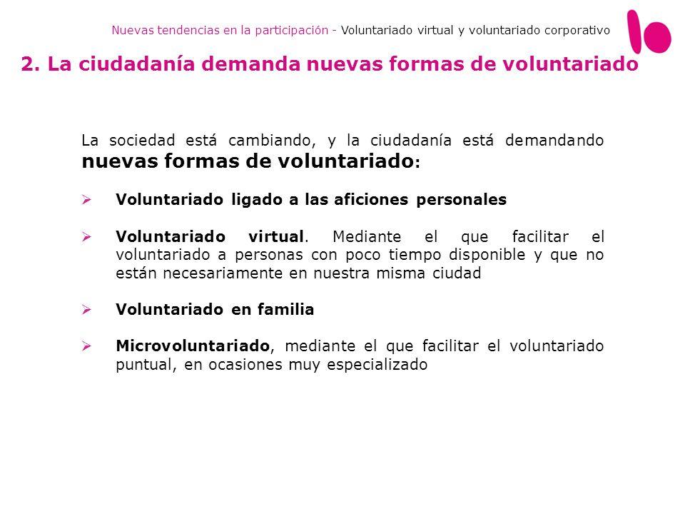 Nuevas tendencias en la participación - Voluntariado virtual y voluntariado corporativo La sociedad está cambiando, y la ciudadanía está demandando nu