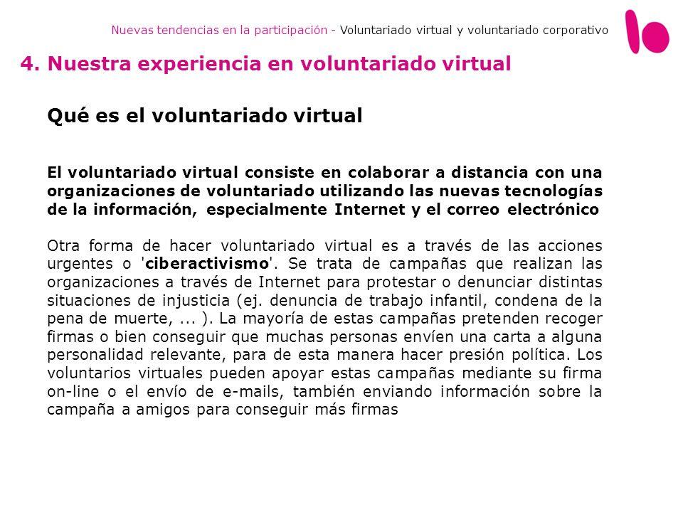 Nuevas tendencias en la participación - Voluntariado virtual y voluntariado corporativo 4. Nuestra experiencia en voluntariado virtual Qué es el volun