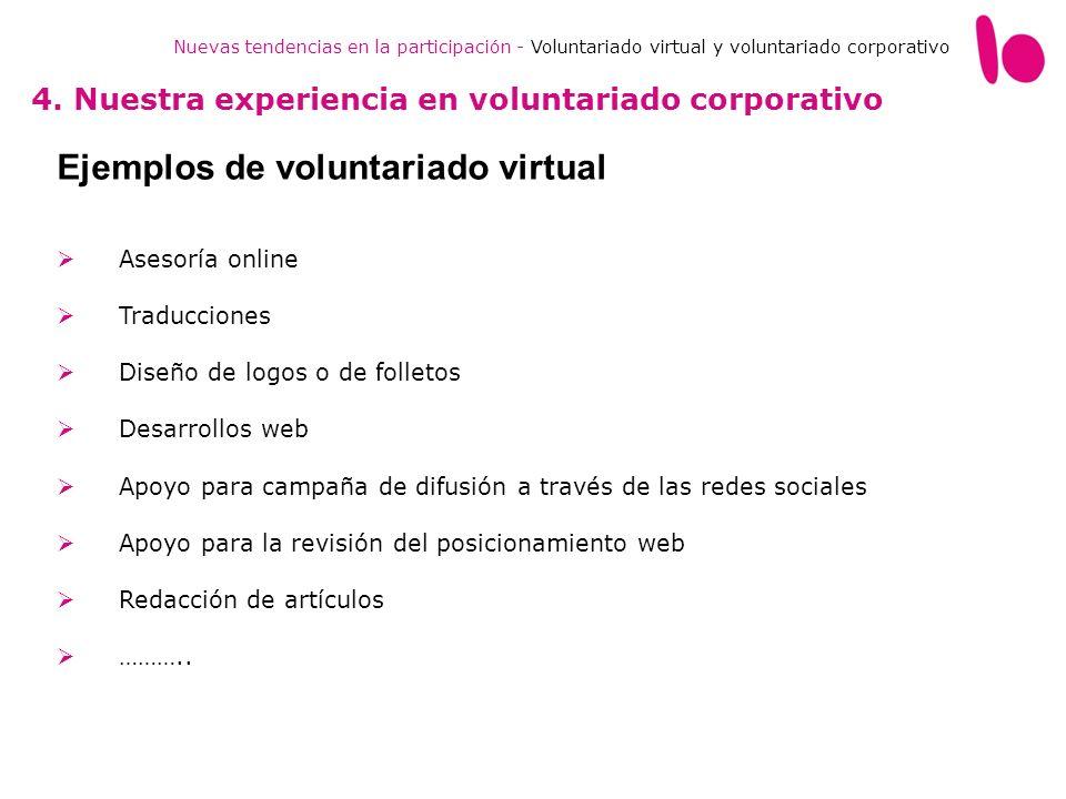 Nuevas tendencias en la participación - Voluntariado virtual y voluntariado corporativo 4. Nuestra experiencia en voluntariado corporativo Ejemplos de
