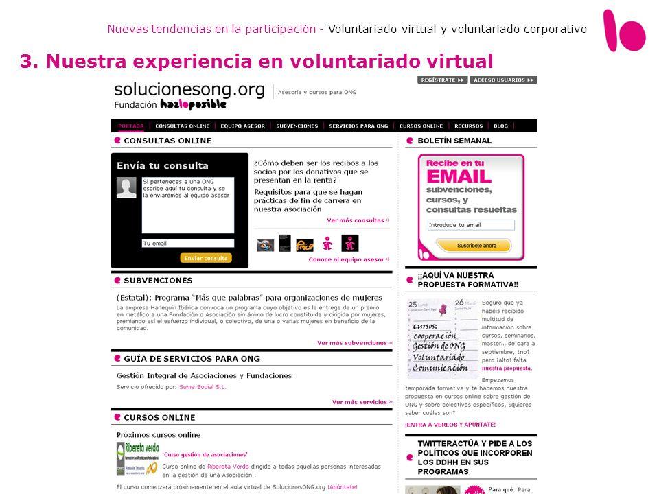 Nuevas tendencias en la participación - Voluntariado virtual y voluntariado corporativo 3. Nuestra experiencia en voluntariado virtual