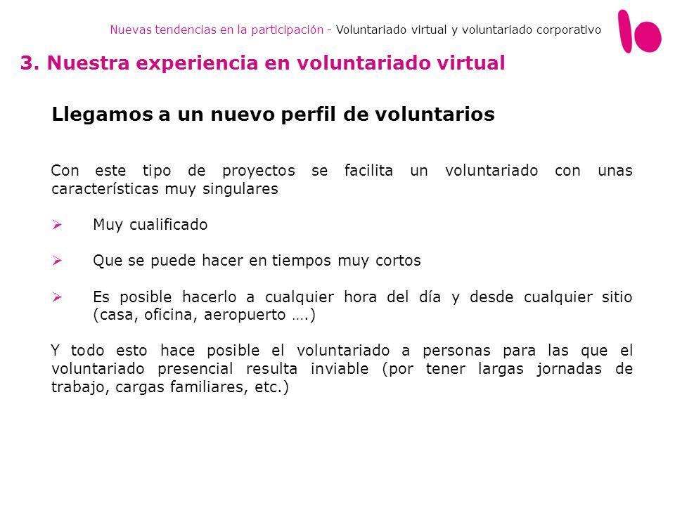 Nuevas tendencias en la participación - Voluntariado virtual y voluntariado corporativo 3. Nuestra experiencia en voluntariado virtual Llegamos a un n
