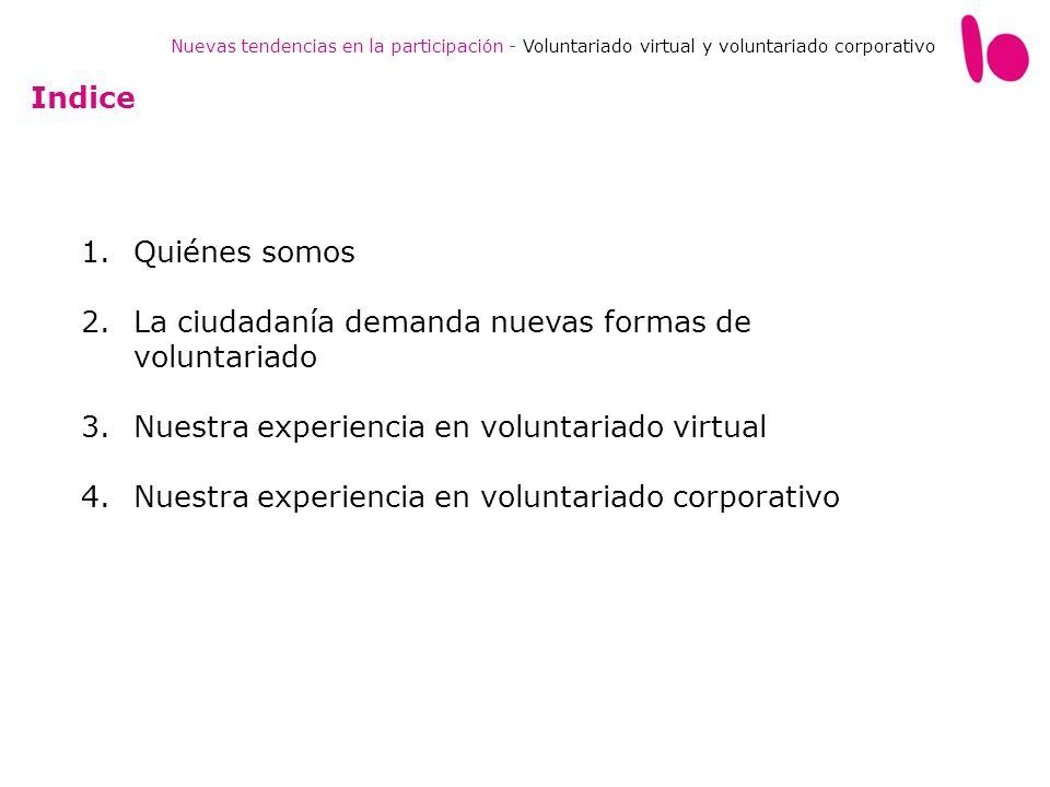 1.Quiénes somos 2.La ciudadanía demanda nuevas formas de voluntariado 3.Nuestra experiencia en voluntariado virtual 4.Nuestra experiencia en voluntari