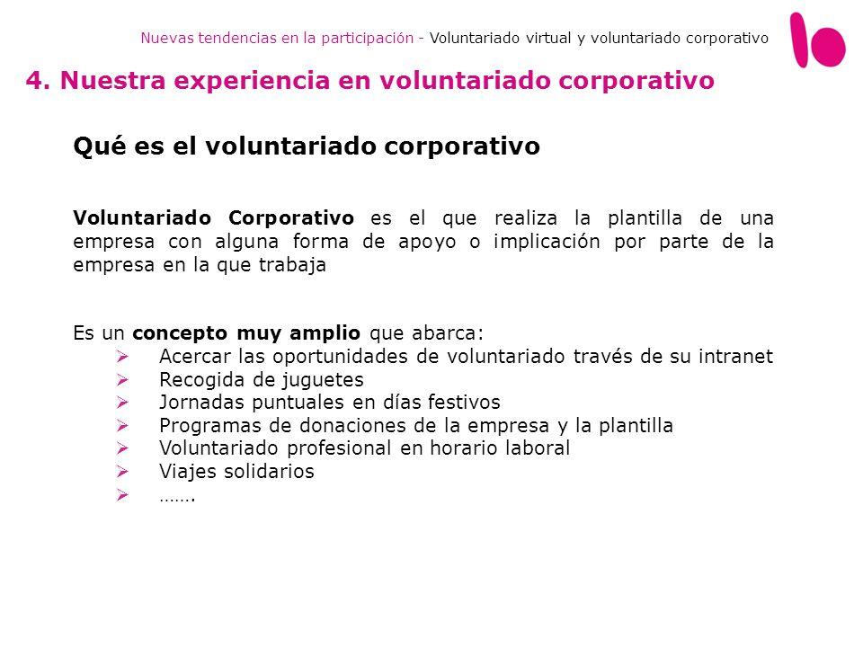 Nuevas tendencias en la participación - Voluntariado virtual y voluntariado corporativo 4. Nuestra experiencia en voluntariado corporativo Qué es el v