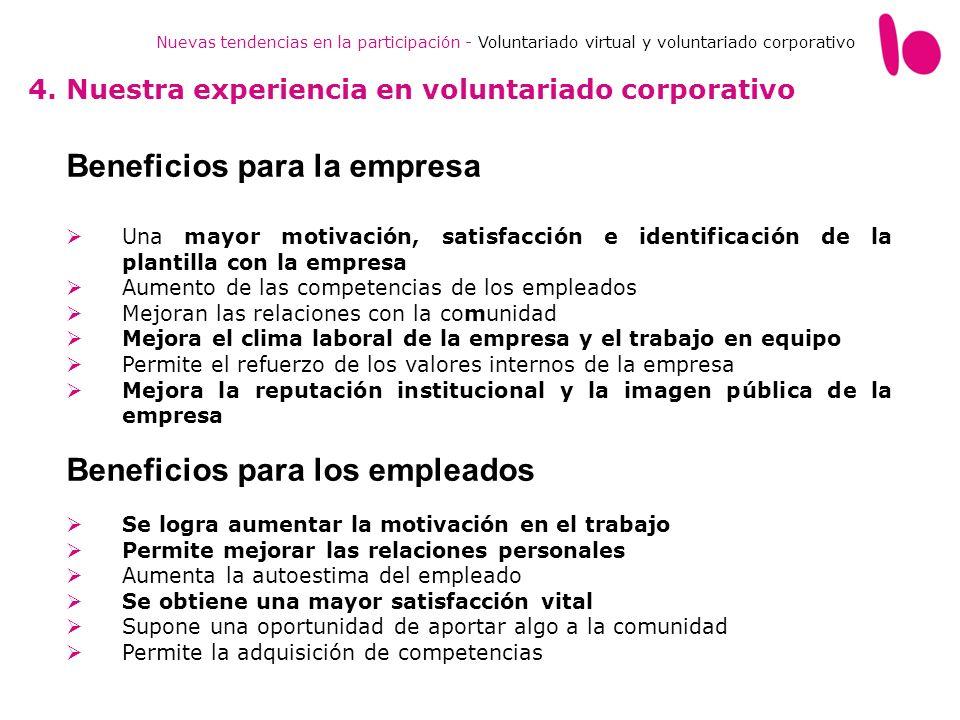 Nuevas tendencias en la participación - Voluntariado virtual y voluntariado corporativo 4. Nuestra experiencia en voluntariado corporativo Beneficios