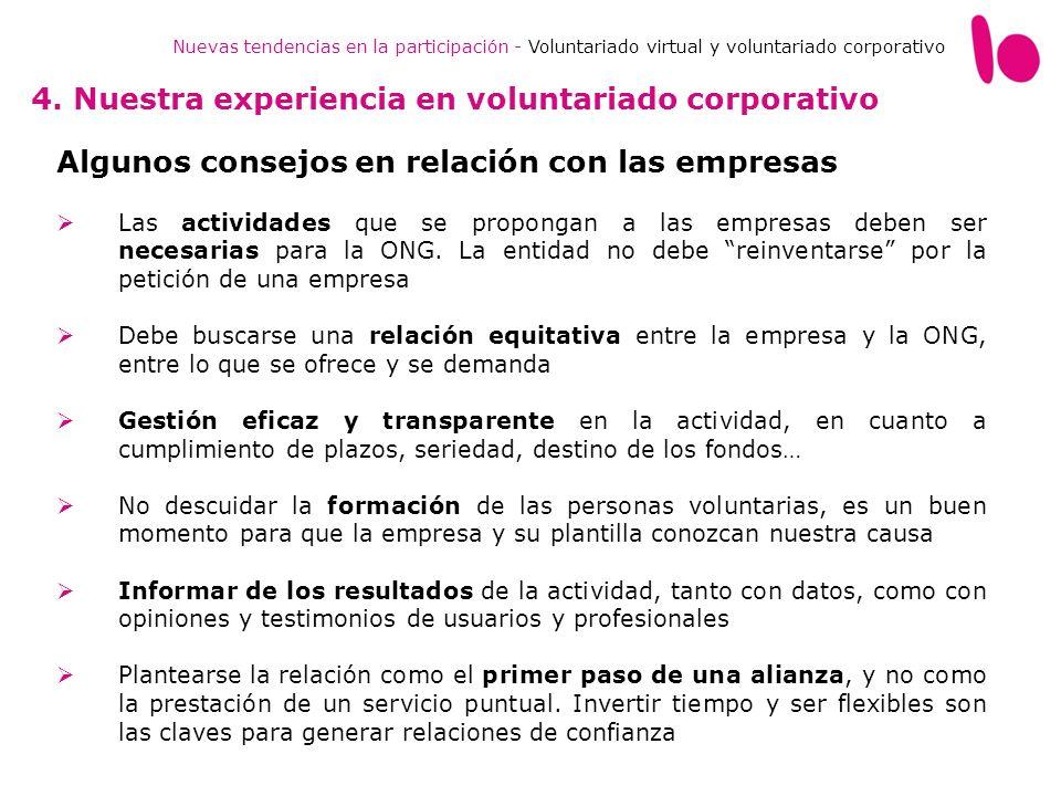 Nuevas tendencias en la participación - Voluntariado virtual y voluntariado corporativo 4. Nuestra experiencia en voluntariado corporativo Algunos con