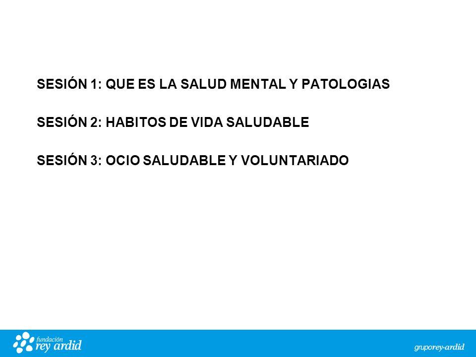 SESIÓN 1: QUE ES LA SALUD MENTAL Y PATOLOGIAS SESIÓN 2: HABITOS DE VIDA SALUDABLE SESIÓN 3: OCIO SALUDABLE Y VOLUNTARIADO Sensibles a una vida mentalmente sana