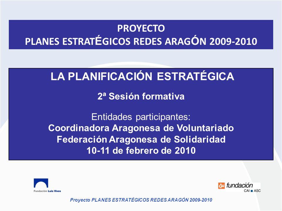 Proyecto PLANES ESTRATÉGICOS REDES ARAGÓN 2009-2010 LA PLANIFICACIÓN ESTRATÉGICA 2ª Sesión formativa Entidades participantes: Coordinadora Aragonesa d