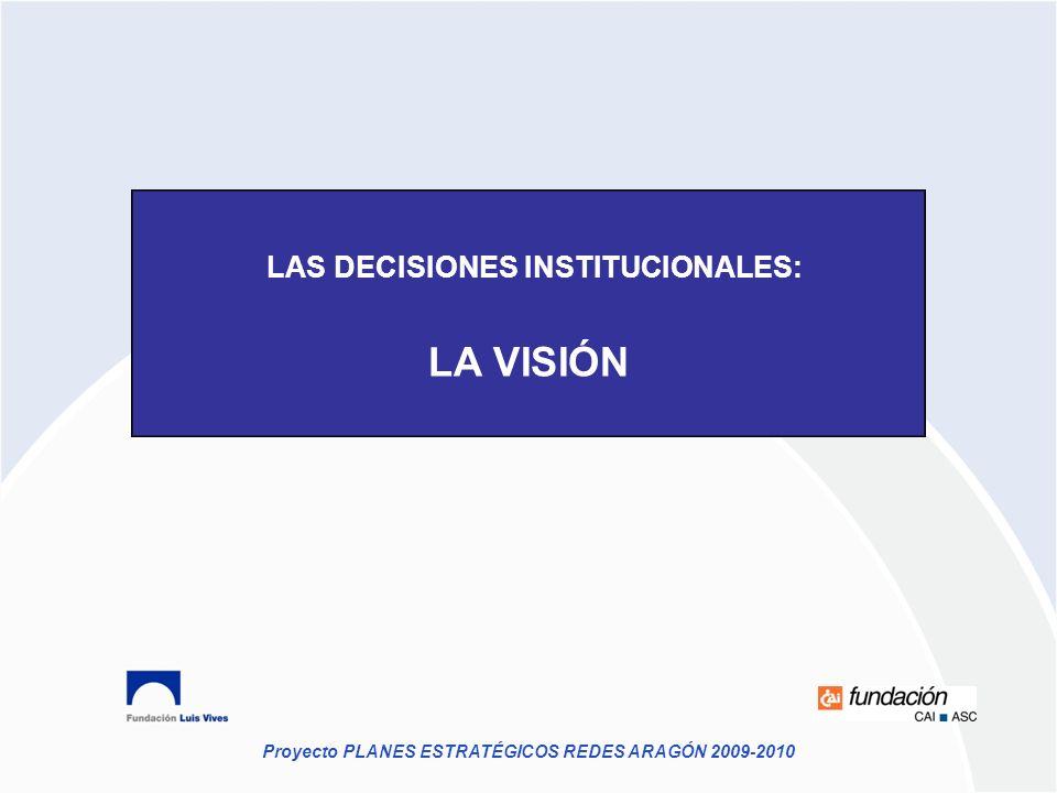 Proyecto PLANES ESTRATÉGICOS REDES ARAGÓN 2009-2010 LAS DECISIONES INSTITUCIONALES: LA VISIÓN