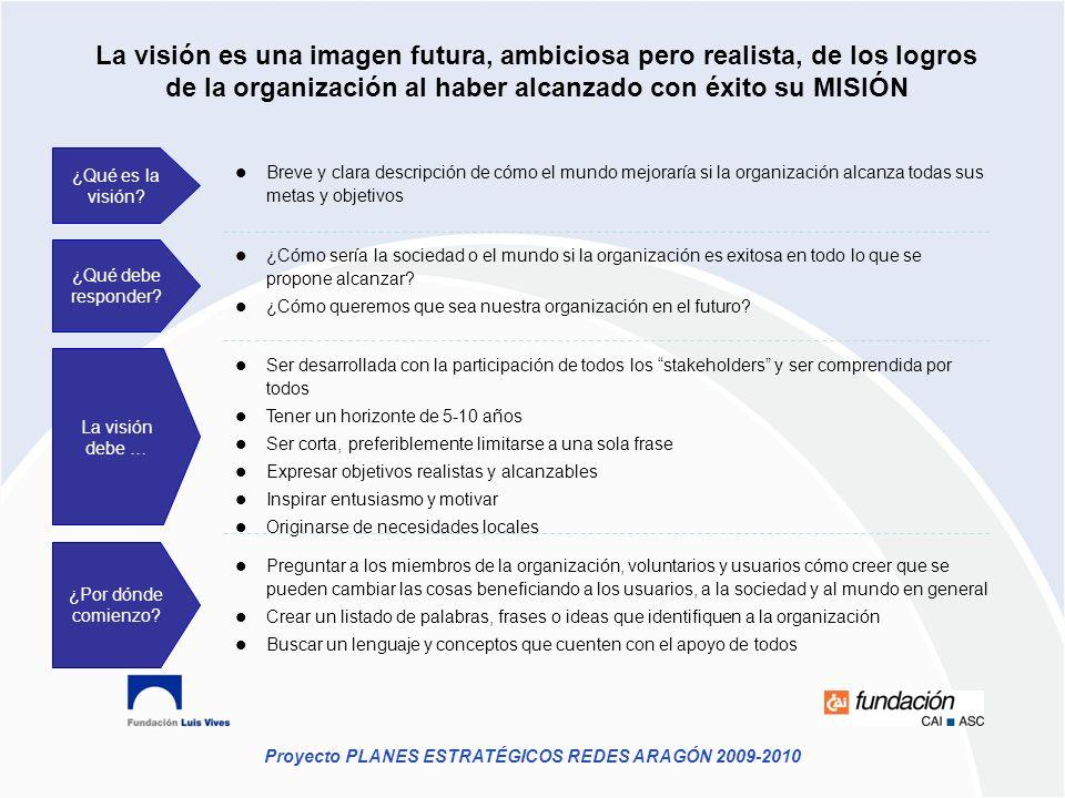 Proyecto PLANES ESTRATÉGICOS REDES ARAGÓN 2009-2010 La visión es una imagen futura, ambiciosa pero realista, de los logros de la organización al haber