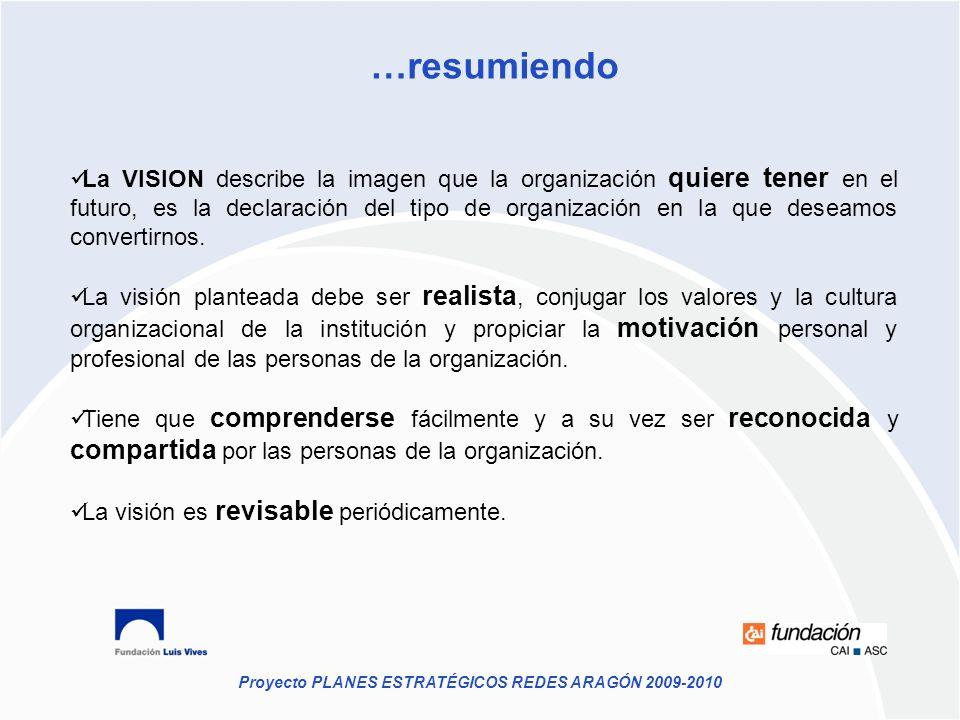 Proyecto PLANES ESTRATÉGICOS REDES ARAGÓN 2009-2010 …resumiendo La VISION describe la imagen que la organización quiere tener en el futuro, es la decl