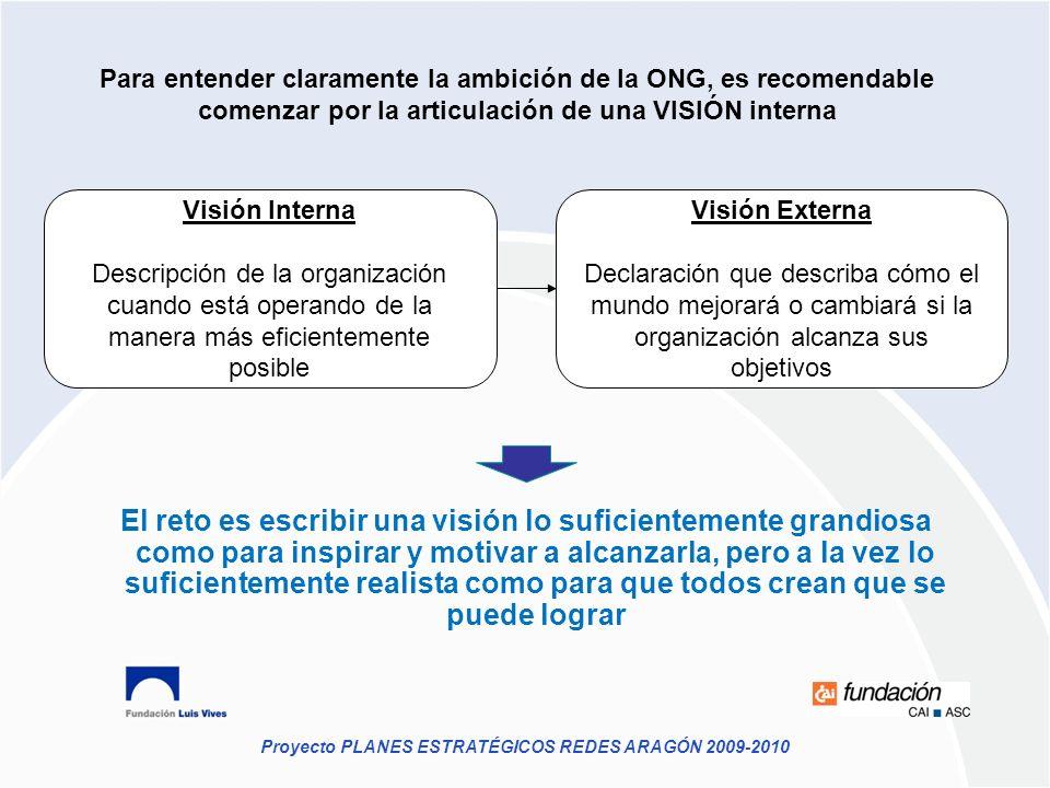 Proyecto PLANES ESTRATÉGICOS REDES ARAGÓN 2009-2010 Para entender claramente la ambición de la ONG, es recomendable comenzar por la articulación de un