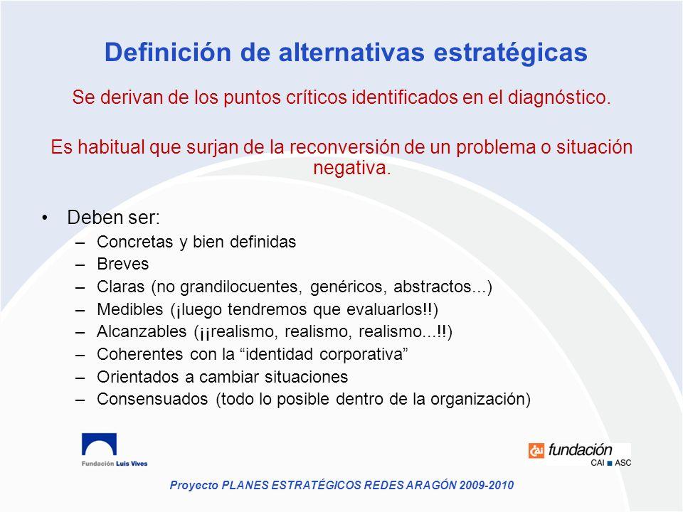 Proyecto PLANES ESTRATÉGICOS REDES ARAGÓN 2009-2010 Se derivan de los puntos críticos identificados en el diagnóstico. Es habitual que surjan de la re