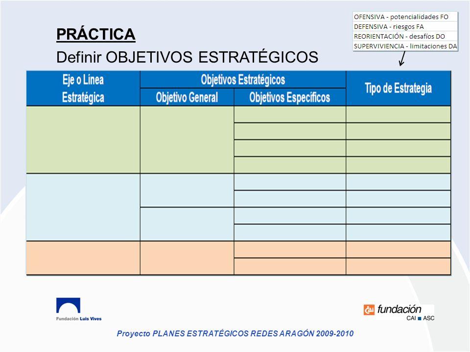 Proyecto PLANES ESTRATÉGICOS REDES ARAGÓN 2009-2010 PRÁCTICA Definir OBJETIVOS ESTRATÉGICOS
